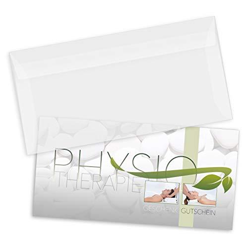 50 hochwertige Gutscheinkarten DIN-lang + 50 Kuverts. Gutscheine für Physiotherapie. Vorderseite hochglänzend. MA9249