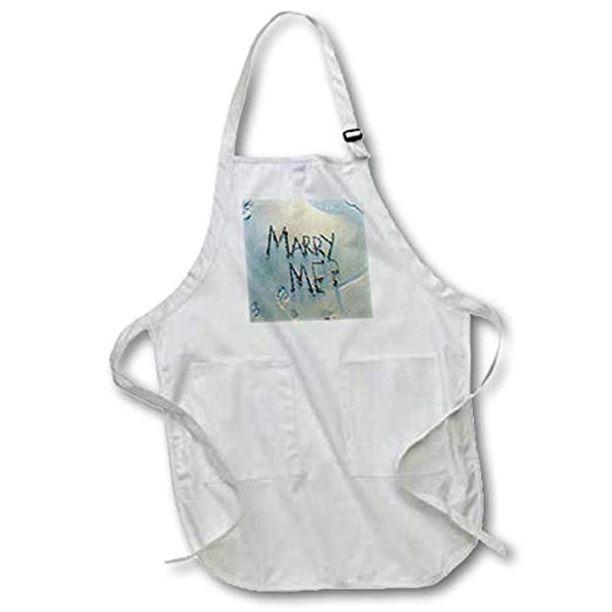 3dRose Lens Art by Florene - Wedding and Engagements - Image of Marry Me Written On Beach with Ocean Tide - Black Full Length Apron with Pockets 22w x 30l (apr_311361_4)