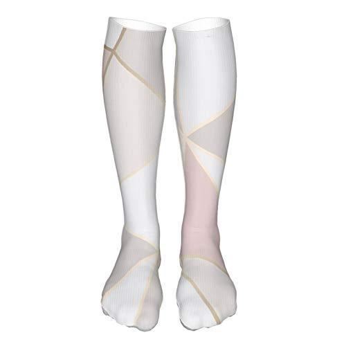 ~ Compression Socks,Rose Gold Geometric Mirror Pattern Knee High Socks for Women Men Circulation(20-30mmhg) - Best for Running Athletic Cycling,Nurses, Travel, Pregnancy