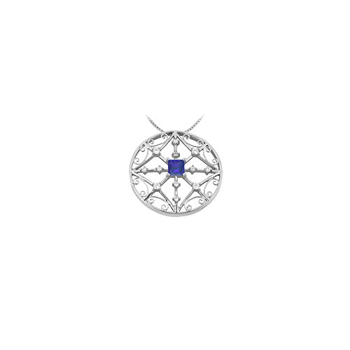 Photo of Sapphire and Diamond Pendant 14K White Gold 1.75 CT TGW