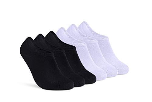 Sneaker Socken Damen Herren Füßlinge 6 Paar kurze unsichtbare Footies Baumwolle rutschfestes Silikonpad (3 Schwarz & 3 Weiß 39-42)