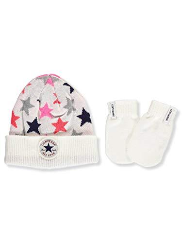 Converse Baby Girls' 2-Piece Beanie & Mitts Set - white, 12-24 months