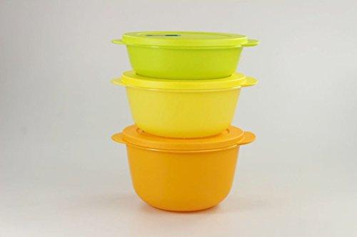 Tupperware Microonde Cryst alwave 2,0 L Arancione + 1,5 L Giallo + 1,0l Limette Micro Pop 17200, Orange, 1L, 1,5L, 2L
