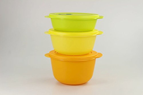 Tupperware Microonde Cryst alwave 2,0 L Arancione + 1,5 L Giallo + 1,0l Limette Micro Pop 17200, Orange, 1L, 1,5L, 2L