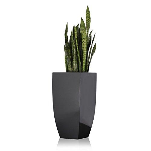 Pflanzkübel Blumenkübel TARRO ALTO Fiberglas, grau hochglanz