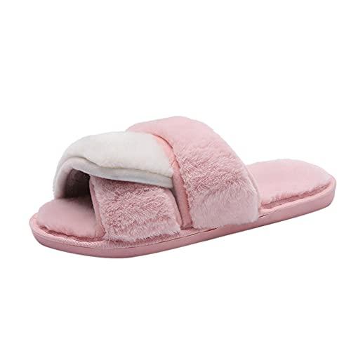 Briskorry Fuzzy - Zapatillas de estar por casa de piel sintética para mujer, cómodas, suaves y cómodas, antideslizantes, para interior y exterior