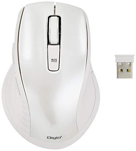 Digio2 5ボタンBlue LED マウス 無線 静音 ホワイト Z8406