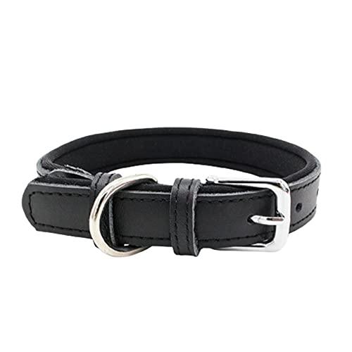 ZZCR Collar De Perro Mascota Diseño De Doble Capa De Cuero Collar De Perro Suave Anti-Estrangulamiento Anti-Pérdida Collar Ajustable De Varios Tamaños Negro M