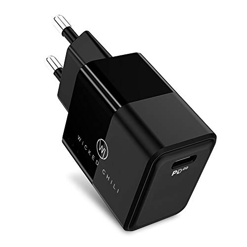 Wicked Chili Adaptador USB C 20W Power Delivery 3.0 Fuente de alimentación USB C PD Fast Charger Compatible con iPhone 12 (Pro, MAX, Mini), 11 (Pro, MAX), XR, SE 2020 y Cargador inalámbrico, noiro