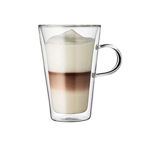 WxberG Juego de 2 tazas de café de cristal de doble pared de 400 ml con aislamiento térmico y sin condensación con mango ancho
