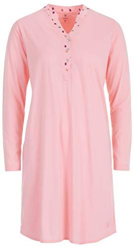 Zeitlos Nachthemd Damen Langarm Ginko Knopfleiste Schlafhemd, Farbe:rosa, Größe:5XL