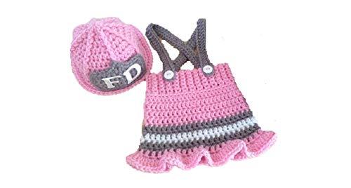Matissa Bebé recién nacido accesorios de traje de fotografía de punto de ganchillo (Pequeña Mujer de fuego)