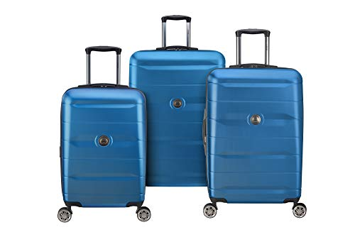 DELSEY Paris Comete 2.0 Hardside Expandable Luggage with Spinner Wheels, Steel Blue, 3-Piece Set (21/24/28)