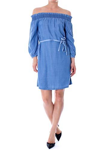 ONLY Damen Onlsamantha Off Shoulder Dnm Dress Qyt Kleid, Blau (Medium Blue Denim), (Herstellergröße: 36)