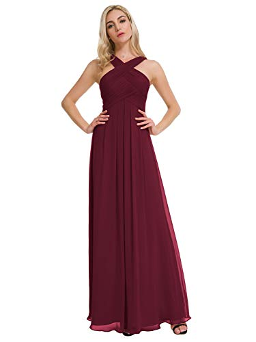 Alicepub Crisscross High-Neck Chiffon Bridesmaid Dress Long Formal Dresses Prom Evening Gown, Burgundy, US6 Chiffon Formal Evening Dress