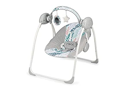 MOMI LISS Balancín Eléctrico para Bebé con Función de Balanceo Automático, Acolchado Suave con Marco de Metal Antideslizante Patas y Correa de Sujeción, Peso 3.5 Kg, Hojas, 58 x 68 x 64 cm