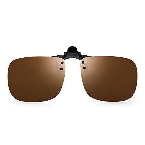 JM Polarisiert Clip auf Sonnenbrillen Rahmenlos Flip up Linsen für Rezept Brillen Braun