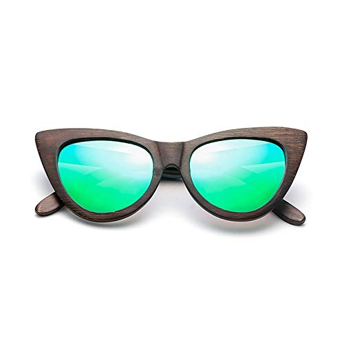 MXLTiandao Gafas de Sol Ojo de Gato Gafas de Sol de bambú Personalidad de Madera polarizada para Mujer Gafas de bambú (Color : Verde, Size : Gratis)