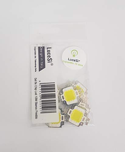 LuceSì - Set 6x Chip Cip Led Per Faro Faretto Fari Faretti Ricambi Esterno Luce Ricambio Alta Potenza Risparmio Energetico Kit Da 6 Pezzi (Bianco Freddo, 10W)