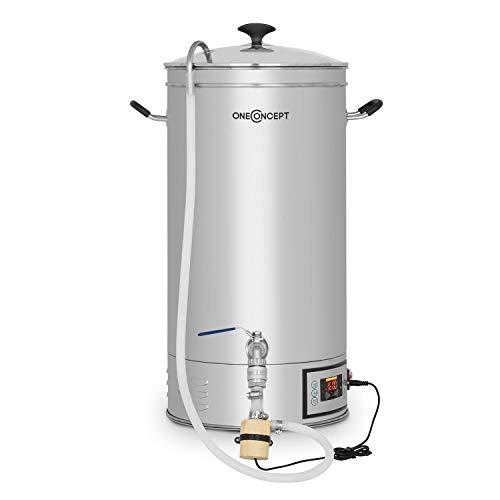Oneconcept Hopfengott Bollitore - Dispositivo per Produzione Birra, Sistema di Infusione, 15 L, 30-140 ° C, 500-1600 W, Pompa di Circolazione, 4 Fasi Programmabili, Acciaio Inox, Argento