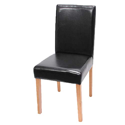 Mendler Esszimmerstuhl Littau, Küchenstuhl Stuhl, Kunstleder ~ schwarz, helle Beine