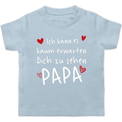Vatertagsgeschenk Tochter & Sohn Baby - Ich kann es kaum erwarten Dich zu sehen Papa Herzen weiß - 6/12 Monate - Babyblau - Geschenk - BZ02 - Baby T-Shirt Kurzarm