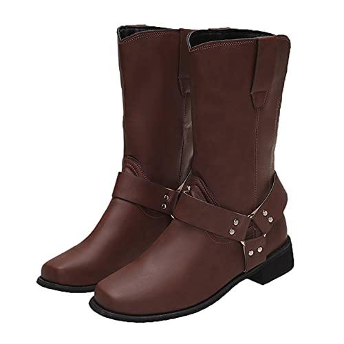 Dasongff Herren Stiefel Vintage-Boot PU-Motorrad-Beiläufige Schuh Männer Gothic Middle Tube Stiefel Boots-Quadratische Zehe-Western-Cowboy-Biker Boot Arbeitsstiefel Rockabilly Boots Freizeitstiefel