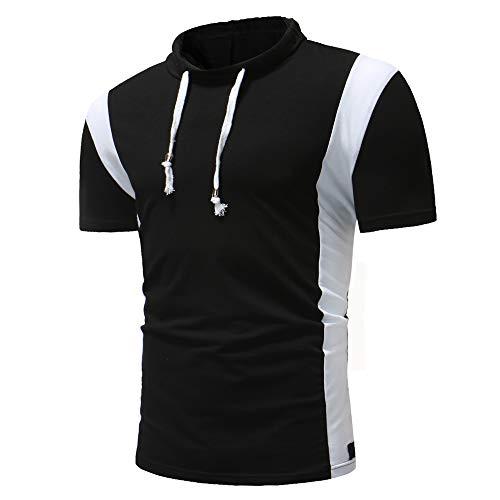 Deportiva Camisa Hombre Moda Empalme Lazada Ajustada Hombre Compresión Shirt Verano Elástica Manga Corta Shirt Cómodo Secado Rápido Muscular Shirt F-Black2 XL