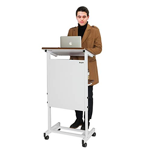Bonnlo Mobile Stand Up Lectern Podium with Wheels, Portable Heavy Duty Desk, Height Adjustable Church Pulpit or Ceremony, Classroom Lecture Speech Teach Platform, Walnut Tabletop and White Steel Frame
