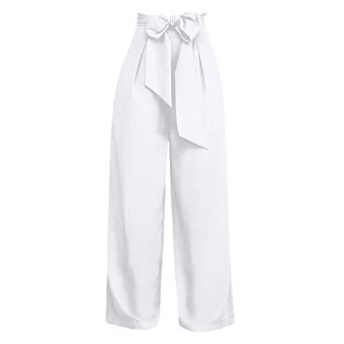 WOZOW Hosen Weites Bein Palazzo Damen Bowknot Riemchen Tie Kordelzug Zug High Waist Straight Casual Lose Loose Elegant for Work Lang Long Trousers (XL,Sahne)