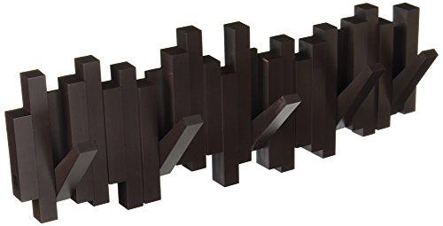 Umbra Sticks Garderobenhaken – Moderne und Platzsparende Garderobenleiste mit 5 Beweglichen Haken für Jacken, Mäntel, Schals, Handtaschen und Mehr, Espresso