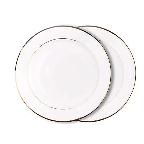 LKITYGF Placas de Cena de Borde de Oro Platos Blancos Sirviendo Platos Placa Juego de Platos Vajilla Hueso China (Color : 2 White 8')