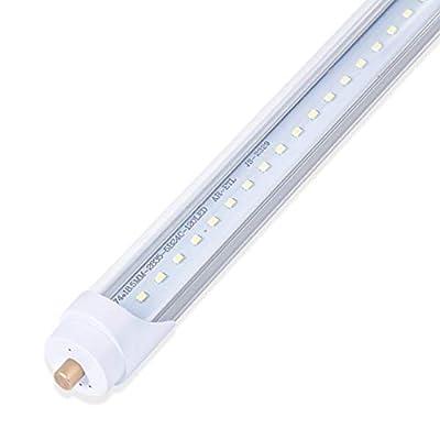 8ft LED Shop Lights for Garage, 8 Foot Led Light Fixtures, T8 Led Tube Light Fixture, 45w 6500k, Clear Cover Led Bulbs for Workshop, Warehouse (1-Pack)