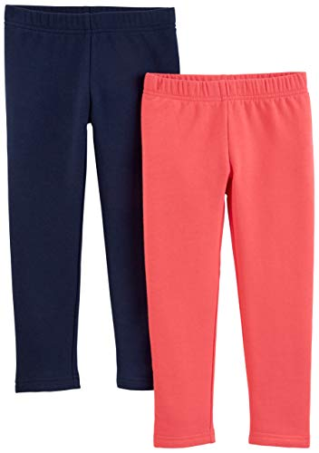 Simple Joys by Carter's Girls' Toddler 2-Pack Fleece Leggings, Pink/Navy, 4T