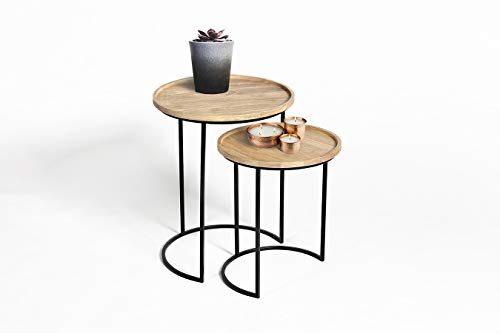 LIFA LIVING Set of 2 Stackable Side Tables for Living Room, Round Vintage Nest Coffee Tables for Small Spaces, Stacking Wooden & Metal Coffee Nesting End Tables, Pre-assembled, 15kg Capacity