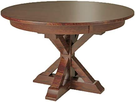 Amazon Com X Base Single Pedestal 4 Foot Round Dining Table Solid Top Only Tables