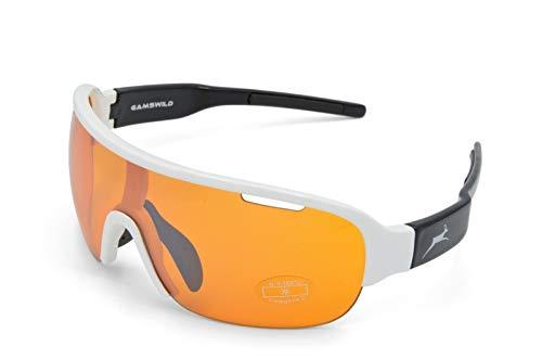 Gamswild Sonnenbrille WS8434 Einscheibenmodell Sportbrille Fahrradbrille Damen Herren Unisex | blau | schwarz | weiß, Farbe: Weiß