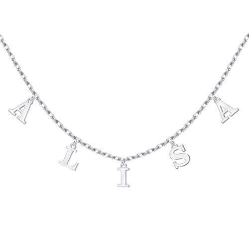 MeMoShe Kette mit Buchstabe,Buchstabenketten, Personalisiert Namenskette Gold/Silber/Rose, Kette mit Namen Buchstaben, Personalisierte Schmuck, Personalisiert Geschenk für Mutter,Tochter,Paar