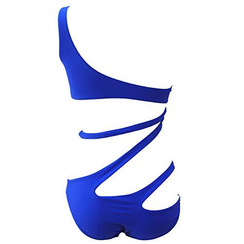 Schuin uitgesneden bikinibroekje uit één stuk, zwempak met meerdere kleuren, effen kleur, rugloos badpak, dames, sexy strakke zwembroek,Blue,M
