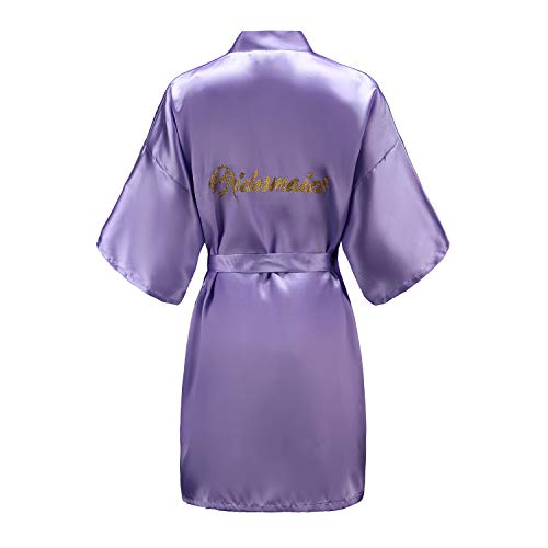 EPLAZA Women One Size Bride Bridesmaid Robes with Gold Glitter for Wedding Party (Light Purple, Bridesmaid)