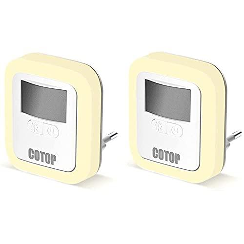 COTOP Luz nocturna enchufable, luz nocturna LED con sensor de movimiento, adecuada para dormitorio, habitación de bebé, baño, inodoro, escaleras, cocina (paquete de 2)