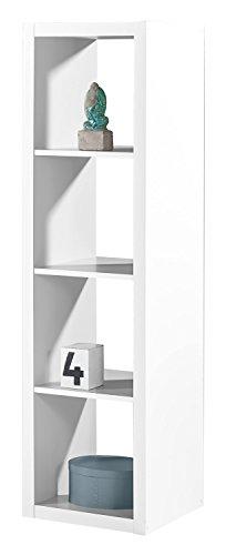 Regal Raumteiler Raumtrenner Standregal   Weiß Dekor   4 Fächer   B/H/L: 41x147x38 cm