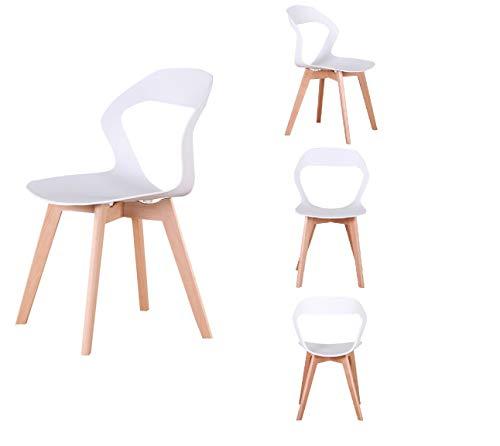 Juego de 4 sillas de comedor estilo nórdico simple moderno para la cocina, oficina, reunión restaurante café (blanco)
