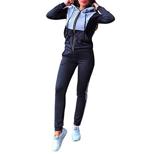 hibote Chándal Sexy Tops y Pantalones de Mujer Conjunto de Dos Piezas Set Top + Pantalones Trajes Mujerses Azul Marino M