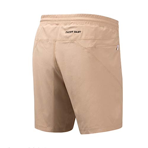 DADDY BABY Men's Casual Gym Shorts with Built-in Underwear and Zipper Pockets (L, Khaki)