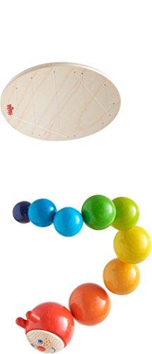 Haba 303530 - Mobile Raupe Mina | Mobile aus Holz in Regenbogenfarben mit süßem Raupenkopf | Baby-Spielzeug aus der Serie Raupe Mina