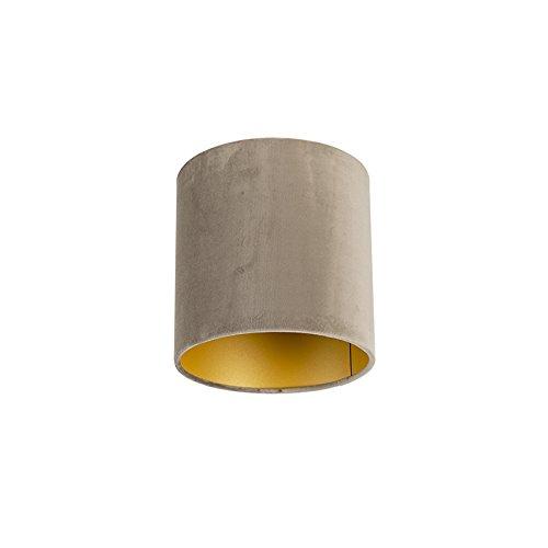 QAZQA Classique/Antique Coton Abat-jour velours taupe 20/20/20 avec intérieur doré, Rond/Cylindrique Abat-jour Suspendu,Abat-jour Lampadaire
