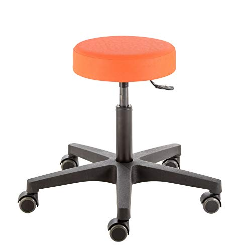 Prova Nova GmbH Rollhocker mit Rundsitz Comfort 4401, Sitzhöhe ca. 46-59 cm, Gasfedersäule, Rollen/Bodengleiter:weiche Radbandage, Polsterdekor:Dekor orange