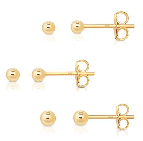 DTPsilver - Damen - Ohrringe 925 Sterling Silber Gelb Vergoldet - Kugel Set Paare 3 Ohrstecker 2 mm, 3 mm, 4 mm