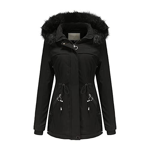 URIBAKY - Chaqueta de invierno para mujer con forro polar clido para invierno, Le Noir, XL